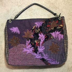 Large Bueno Purple Patchwork Boho Overnighter Bag